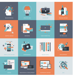 flat design concept icons for web development vector image