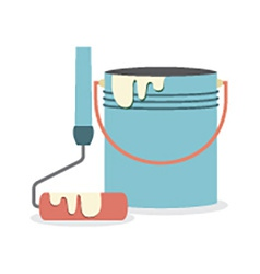Flat Design Paint Bucket With Roller vector