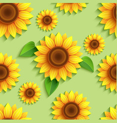 Floral green seamless pattern with 3d sunflowers vector
