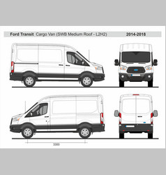 Ford transit cargo delivery van l2h2 2014-2018 vector