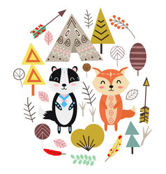 fox and badger in scandinavian style vector image