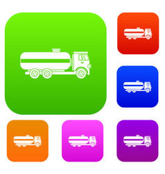 fuel tanker truck set collection vector image