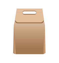 full simple paper bag with handle isolated vector image