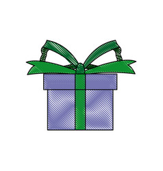 Gift box wrapped ribbon bow present vector