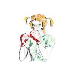 Girl boxer vector