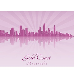 Gold coast skyline in purple radiant orchid vector