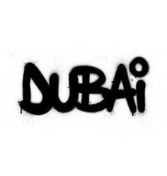 Graffiti dubai word sprayed in black over white vector