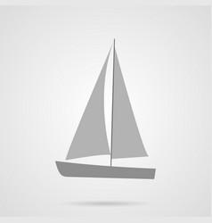 Gray sailing yacht flat icon vector