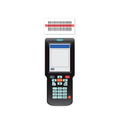 Handheld mobile computer in hand or scanner vector