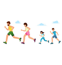 happy family on a jogging father mother vector image