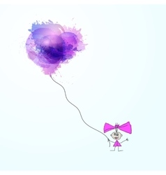 Happy girl in love with balloon vector