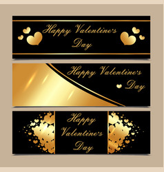 happy valentines day luxury gold and black vector image