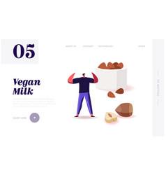 Healthy vegan food nuts dieting landing page vector