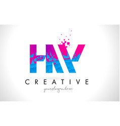 hw h w letter logo with shattered broken blue vector image