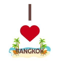 i love bangkok travel palm summer lounge chair vector image