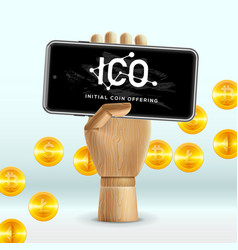 Ico initial coin offering business internet vector