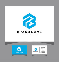 Initials letter fb logo with a business card vector