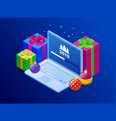 Isometric happy new 2019 year concept system vector