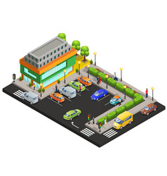 isometric shopping center concept vector image