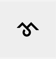 Letter m jm ja monogram logo design minimal icon vector