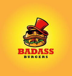logo badass burger fast food mascot with hat vector image