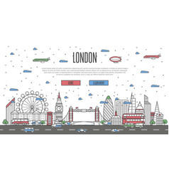 london skyline with national famous landmarks vector image