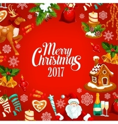 Merry Christmas 2017 greeting poster vector image
