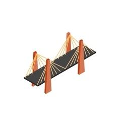 Metal cable suspension bridge icon vector