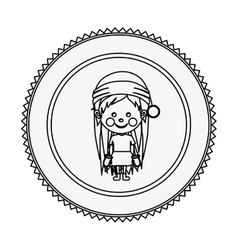 Monochrome contour circle with girl with christmas vector
