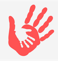 Mother and child handprint palm of woman and baby vector