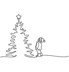 New year card boy looking at christmas tree vector