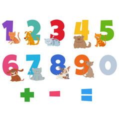 Numbers set with funny cats and dogs vector