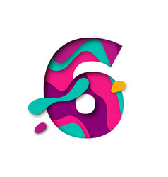Paper cut number six 6 letter realistic 3d multi vector