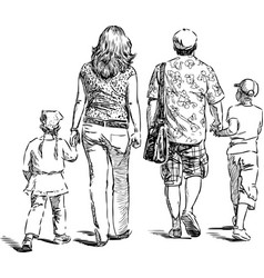 parents with their kids go for a stroll vector image