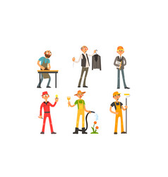 people different professions carpenter tailor vector image