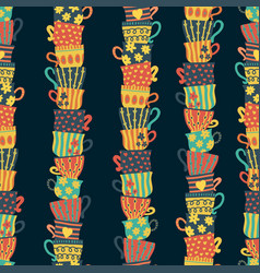 Piles of stacked colorful cups seamless pattern vector