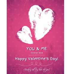 pink background with two valentine hearts vector image