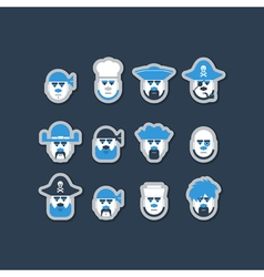 Pirate ship crew avatars set vector