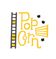 popcorn text label with popping film strip and vector image
