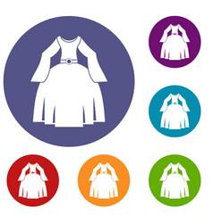 Princess dress icons set vector