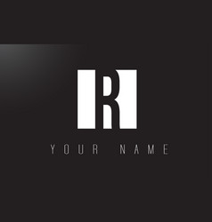 r letter logo with black and white negative space vector image