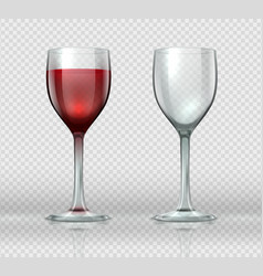 realistic wine glasses transparent isolated vector image