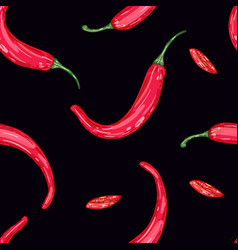 red hot pepper on black background color vector image