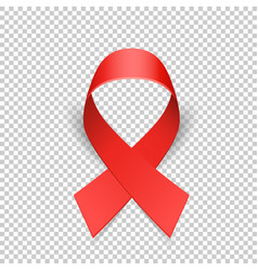 red ribbon solidarity awareness symbol vector image