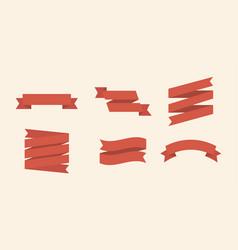ribbons set 6 bunners colorful set ribbin flat vector image