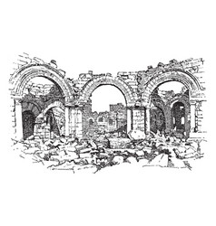 Ruins of the church of st simeon stylites vintage vector