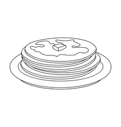 Russian pancakes icon in outline style isolated on vector
