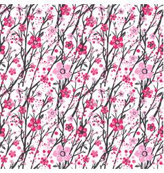 sakura japan cherry branch with blooming flowers vector image