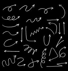 Set hand drawn arrows doodle on black vector