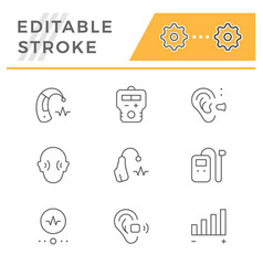 set line icons hearing aid vector image